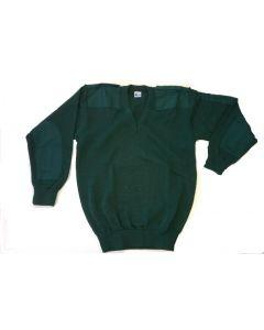 Commando pullover fijn V-hals + epaul. Groen
