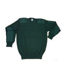 Comm.trui fijn ronde hals, epaul. Groen