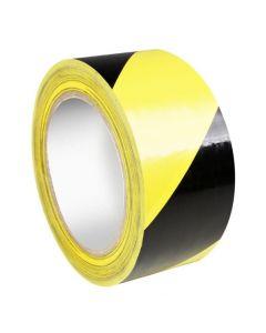 Vloer/markeer tape rol  zwart/geel 50 mm 15 meter