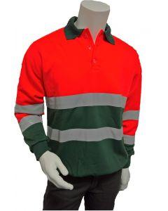 Polosweater Fluor Oranje/groen
